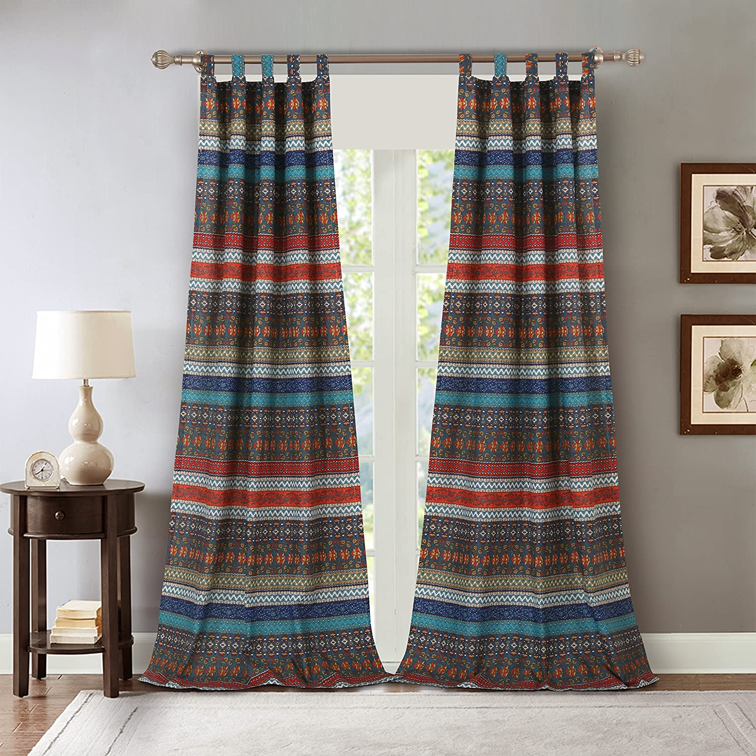 Barefoot Bungalow Brooklyn Curtain Panel Pair Greenland Home Fashions GL-1706BWP