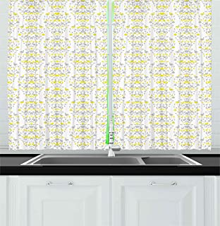 Ambesonne Grey And Yellow Kitchen Curtains, Victorian Style Flowers Leaves  Swirls Ombre Design Art Image