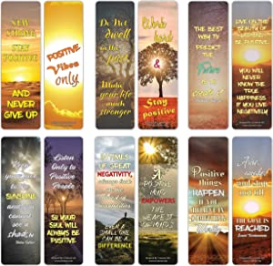 Creanoso Stay Positive Inspirational Sayings Sun Bookmark Cards (12-Pack) – Premium Gifts Bookmarks for Bookworm – Stocking Stuffers for Men, Women, Teen, Bookworms – Office Supplies – DIY Kit