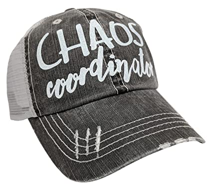 Loaded Lids Women s Chaos Coordinator Distressed Bling Baseball Cap  (Grey White) fdce67a83