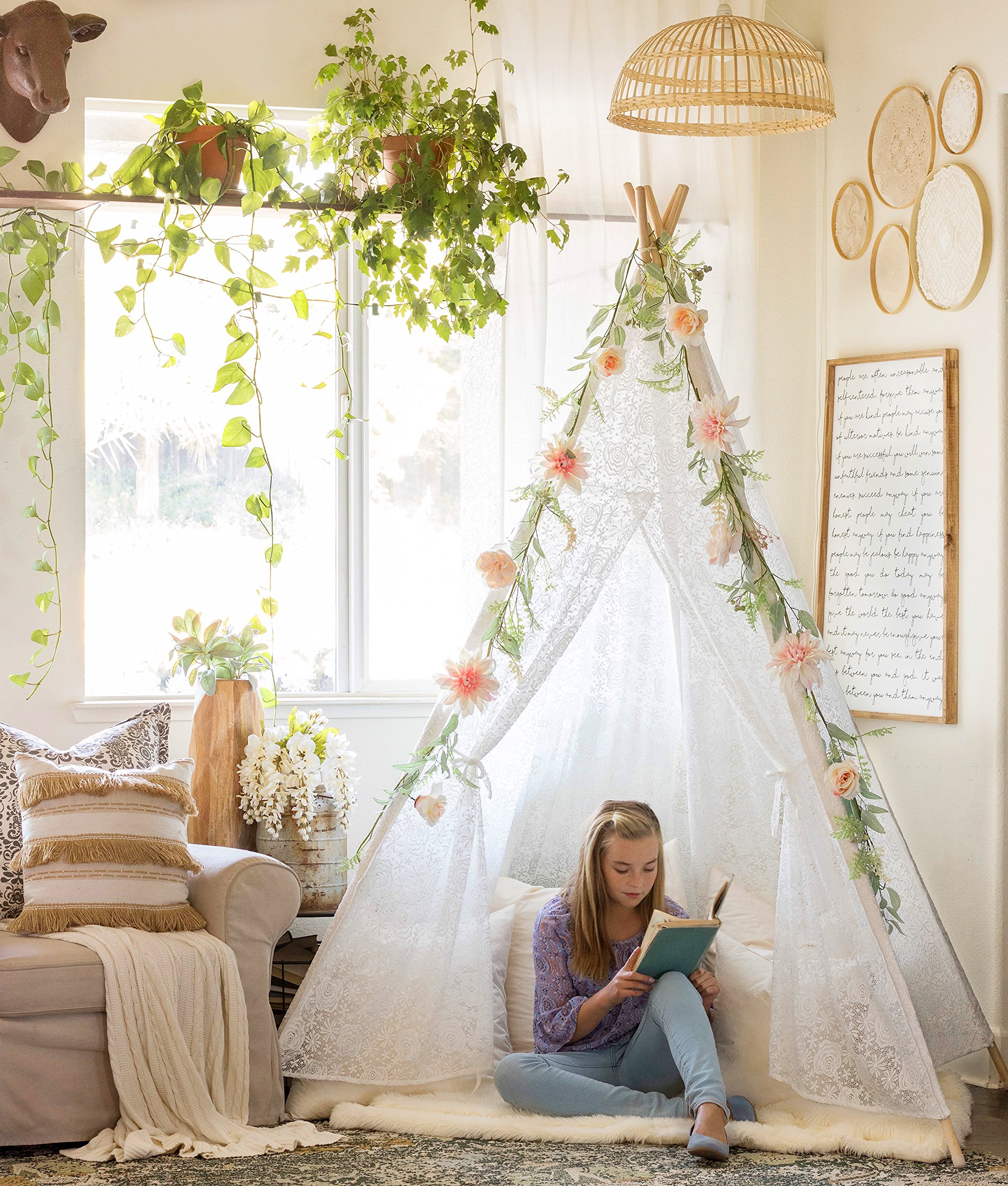 Luxury Lace Teepee for Kids & Adults (XX-Large 7' Tall) 5-Sided Sleeping Tent for Indoor & Outdoor Use | Wedding, Birthday, Sleepover, Photography Décor | Girls & Boys