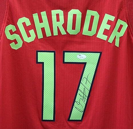 59094c695 Dennis Schroder Atlanta Hawks Signed Autographed Red  17 Jersey JSA ...