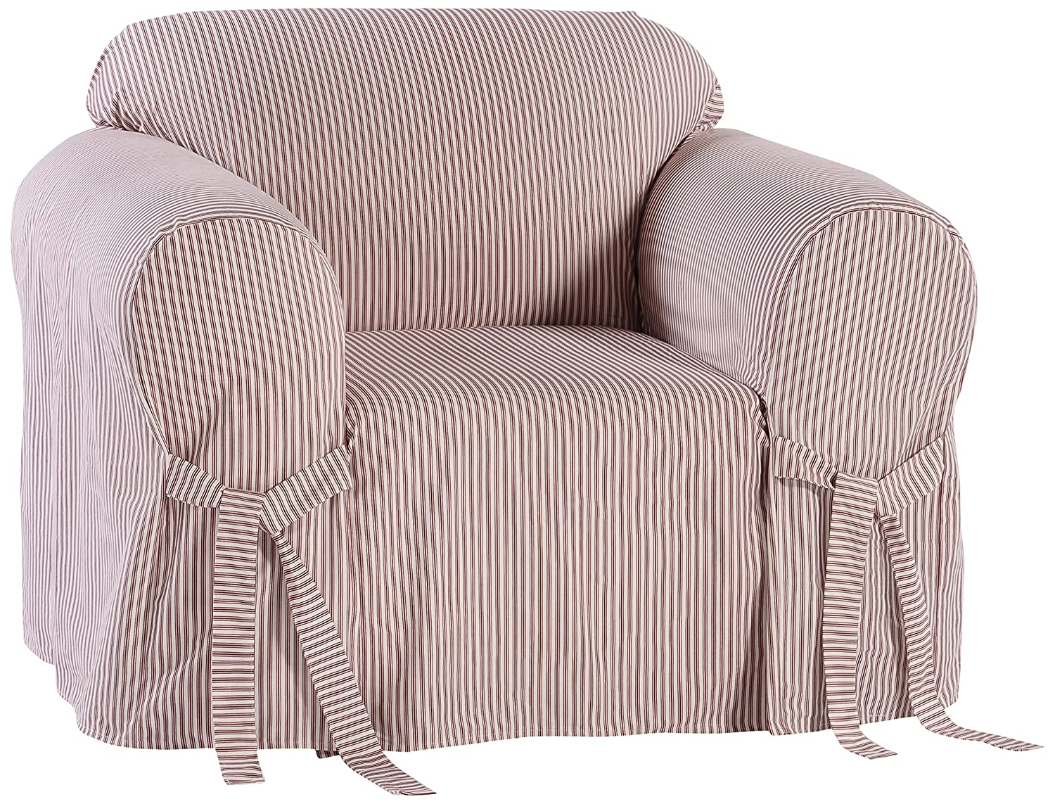Classic Slipcovers BT30RAST One Piece Stripe Twill Chair Slipcover, Navy/White
