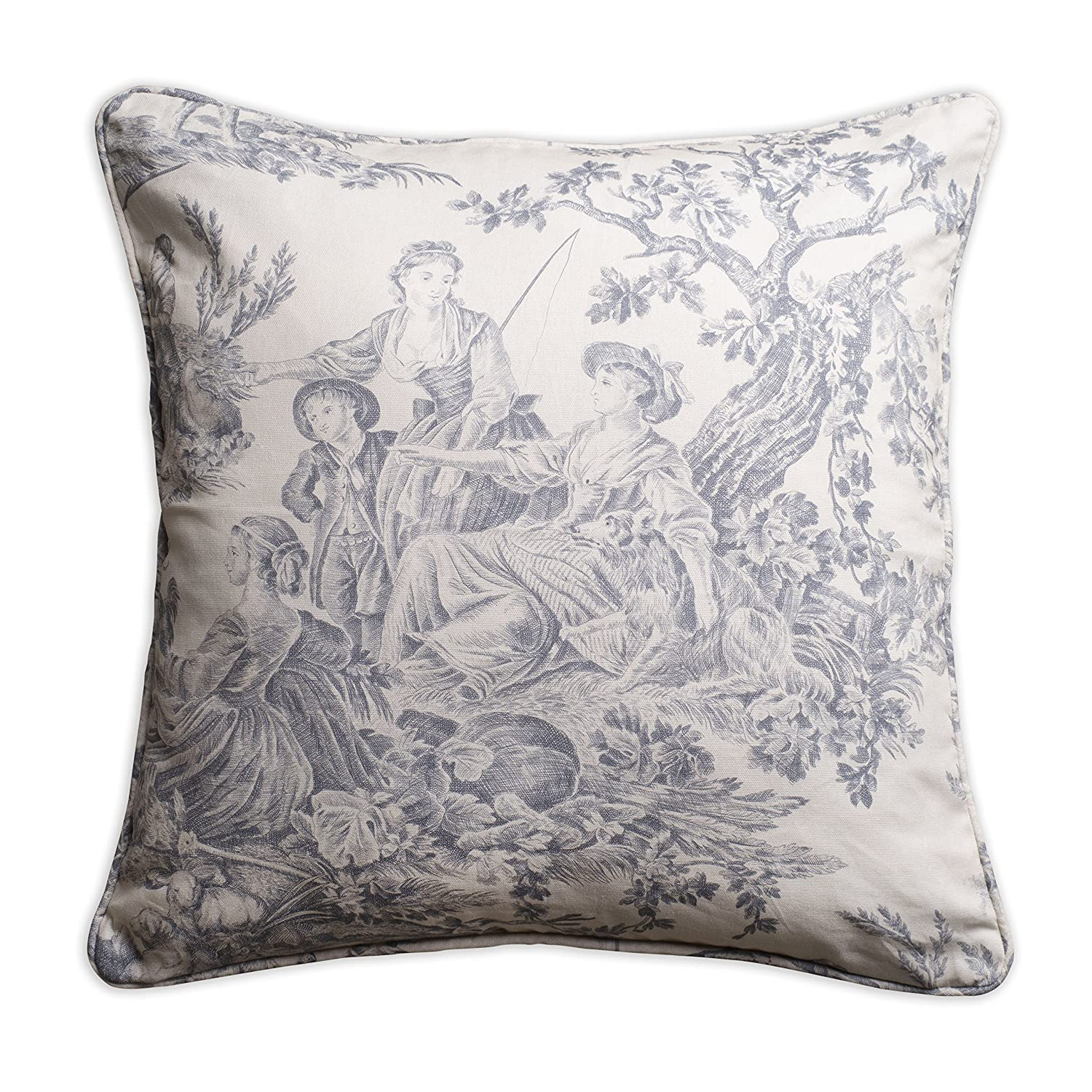 Blue and white tole French country pillow cover.