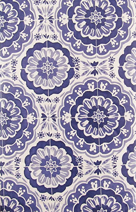 Summertime Floral Damask Vinyl Flannel Back Tablecloth With Zipper Umbrella Hole