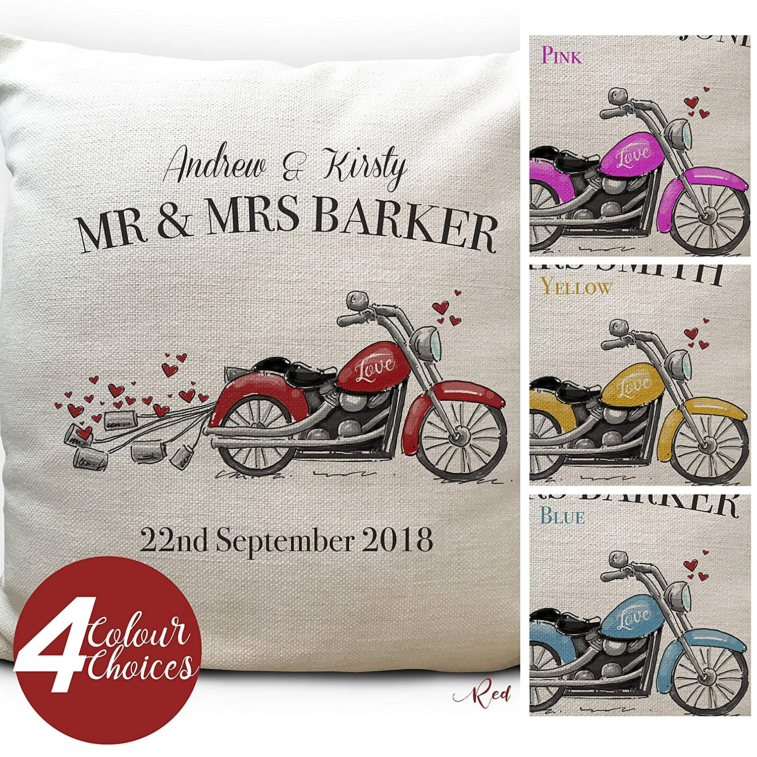 Personalised Motorbike Wedding Cushion Pillow Cover - Mr and Mrs Anniversary Gift - Colour Choices - 16 inch High Quality