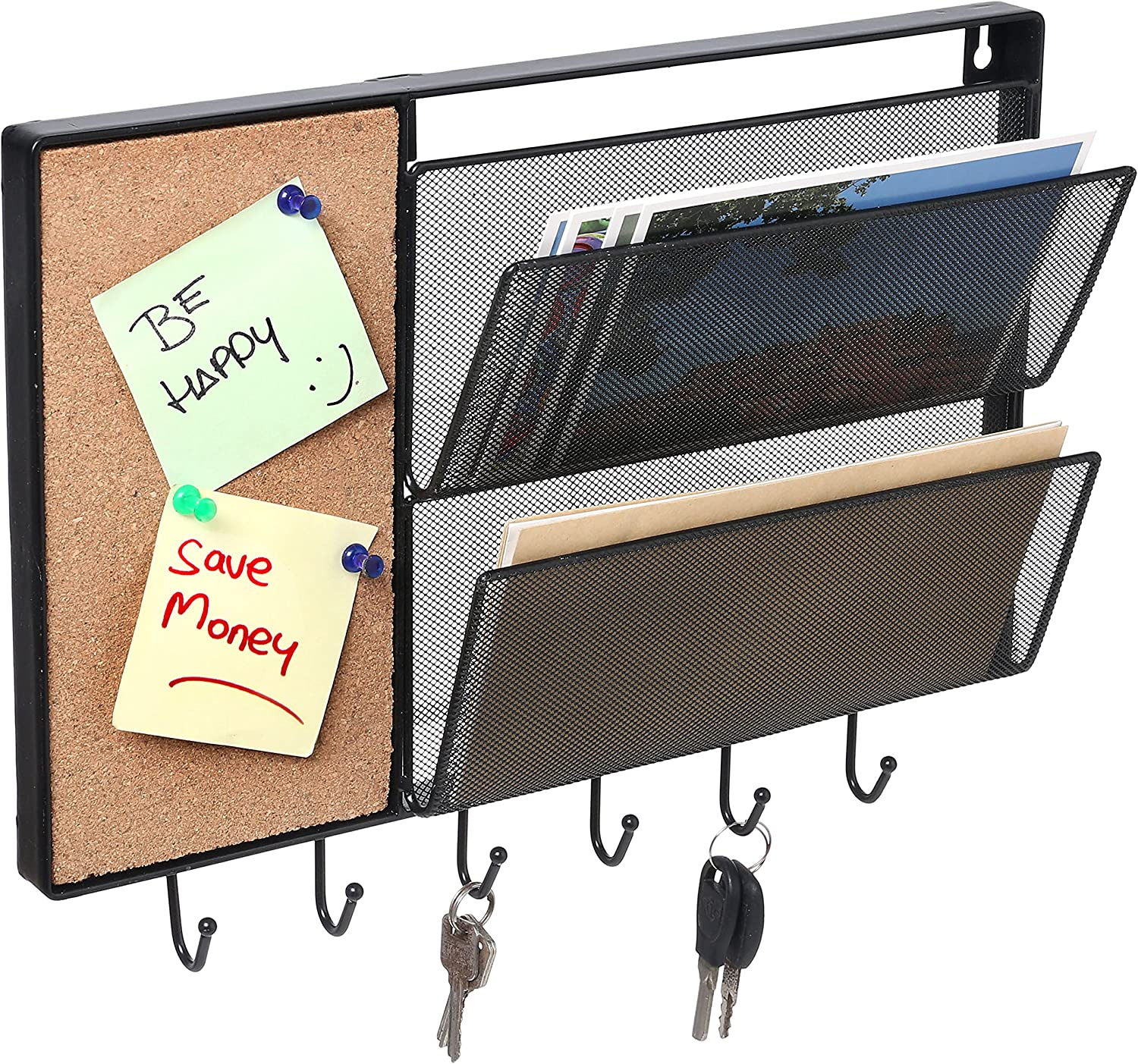 MyGift 15-Inch Wall-Mounted Black Mesh Metal Storage Rack, Hanging Mail Sorter with Cork Memo Board & 6 Key Hooks