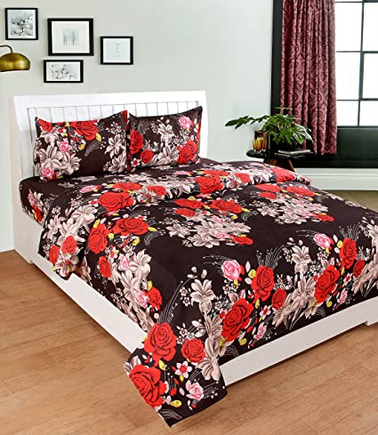 c2b857c59f Buy Deewan Home Furnishing 3D Brown Bedsheet On Red Rose Printed Double  Bedsheet with 2 Pillow Covers Size-90X90 inches Pillow-17X27 inches Online  at Low ...