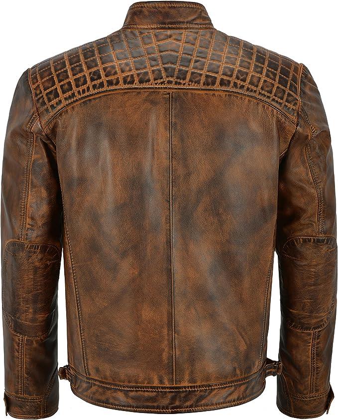 Men/'s Vintage Noir Rétro Casual Zippé 100/% Cuir Racing Matelassé Veste de motard