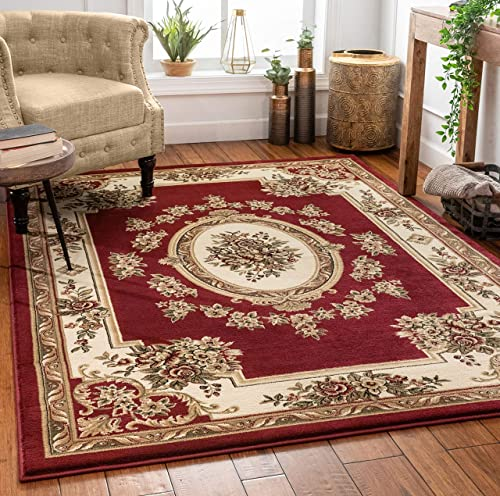 Pastoral Medallion Red French European Formal Traditional 5×7 5 3 x 7 3 Area Rug Easy to Clean Stain Fade Resistant Shed Free Modern Contemporary Floral Thick Soft Plush Living Dining Room Rug