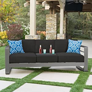 Christopher Knight Home Crested Bay Patio Furniture   Outdoor Grey Aluminum Sofa Couch with Dark Grey Water Resistant Cushions