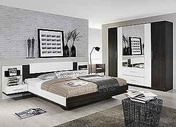 Schlafzimmer mit Bett 180 x 200 cm Wenge Shiraz/ alpinweiss: Amazon ...