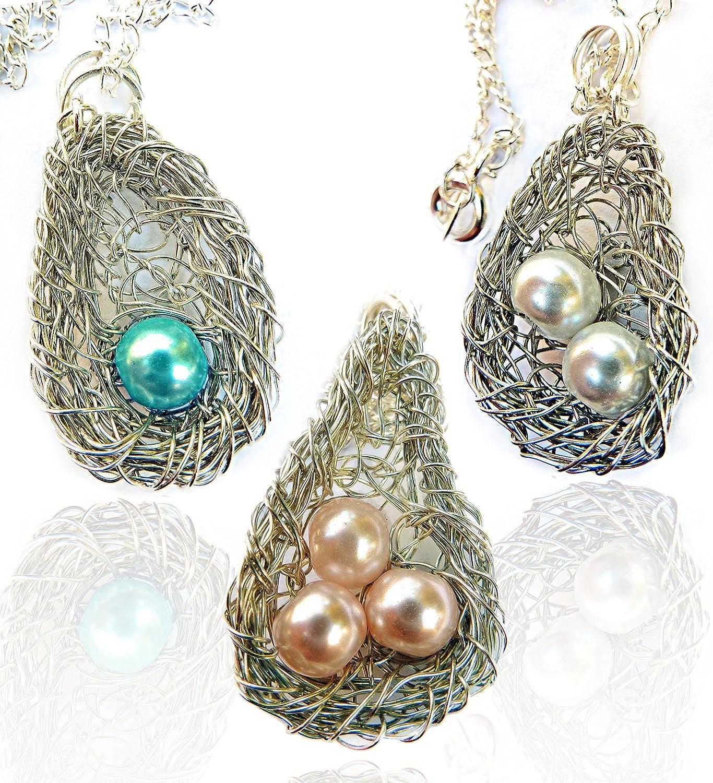 Amazon Com Wire Wrapped Silver Weaver Oriole Bird Nest Pendant