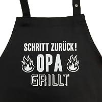 Schritt zurück! Opa grillt - Grillschürze, Kochschürze mit verstellbarem Nackenband und Seitentasche