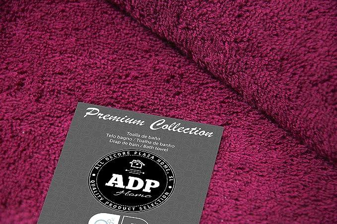 ADP Home - Juego de Toallas 550 Grms 3 Piezas (Toalla Ducha/Baño, Lavabo/Mano, Tocador) 100% Algodón Peinado - Color: Vino: Amazon.es: Hogar