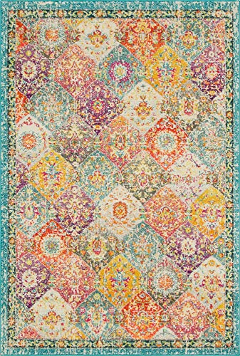 Unique Loom Penrose Collection Distressed Traditional Vintage Multi Area Rug 5 3 x 7 7