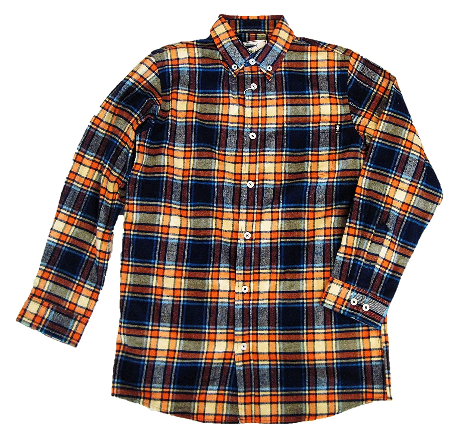 Youth Large Southern Lure Boys Orange /& Navy Plaid Flannel Sport Shirt