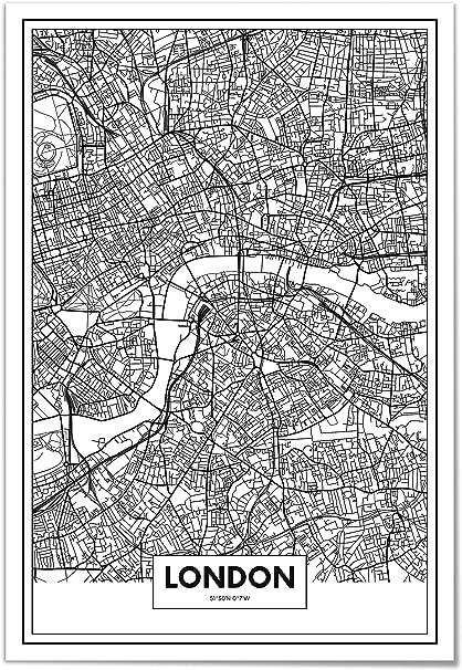 Panorama Póster Mapa de Londres 50x70cm - Impreso en Papel 250gr - Póster Pared - Cuadros Modernos Decoración Salón - Cuadros para Dormitorio - Póster Decorativos: Amazon.es: Juguetes y juegos