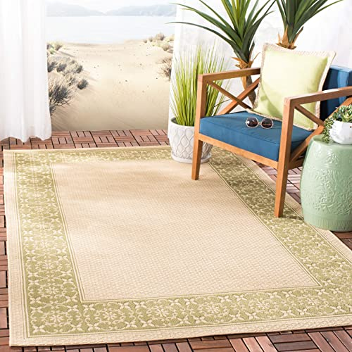 Safavieh Courtyard Collection CY6003-14 Cream and Green Indoor Outdoor Area Rug 8 x 11