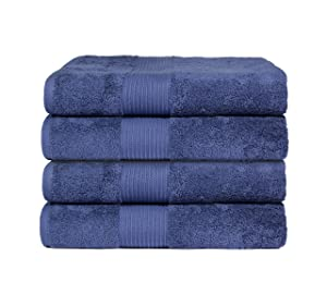 """Bliss Luxury Combed Cotton Bath Towel - 34"""" x 56"""" Extra Large Premium Quality Bath Sheet - 650 GSM - Soft, Absorbent (Denim, 4 Pack)"""