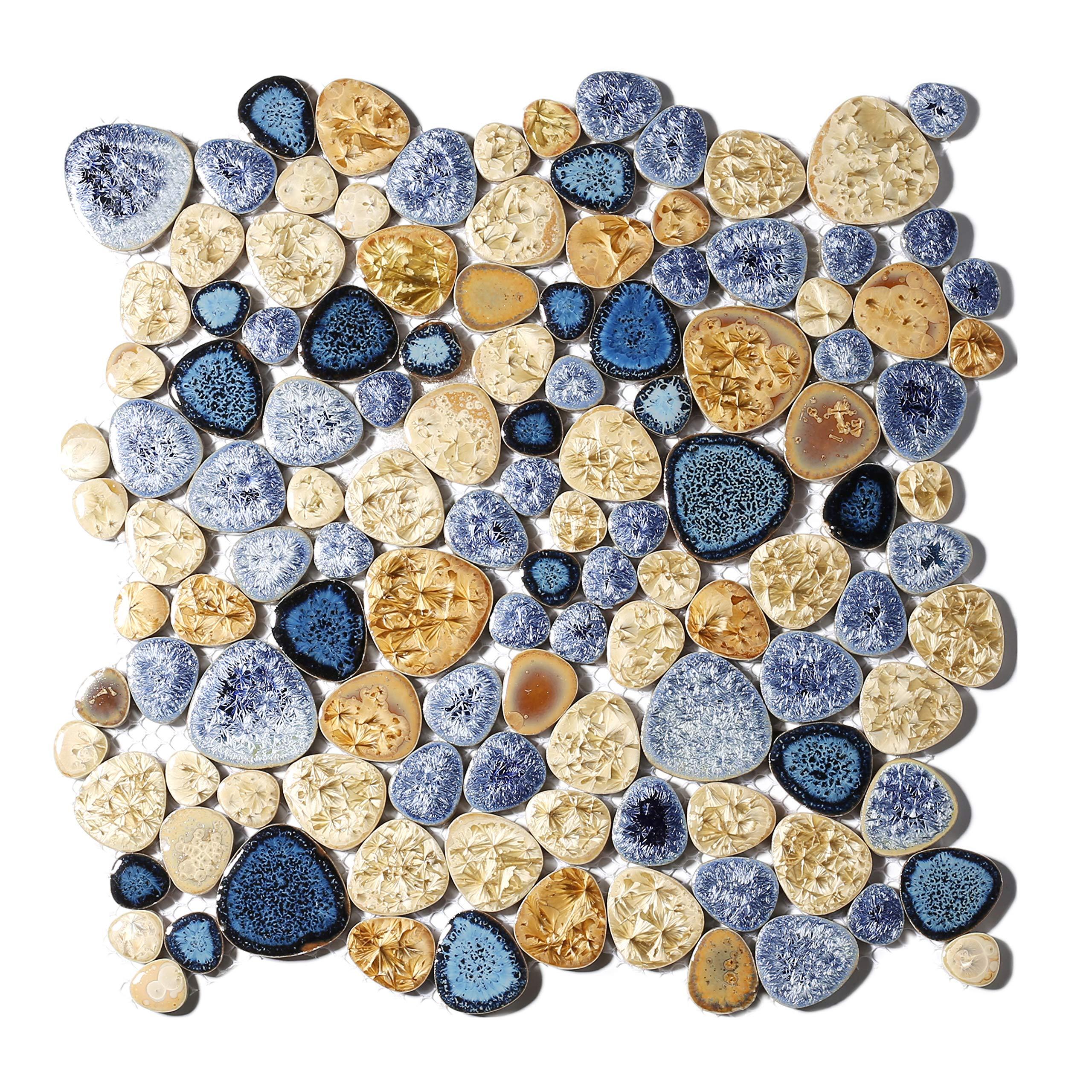 Glazed Blue Mosaic Ceramic Pebble Porcelain Tile Swimming Pool Bath Shower Wall Flooring Tile TSTGPT001 (10 Square Feet) by BLUJELLYFISH