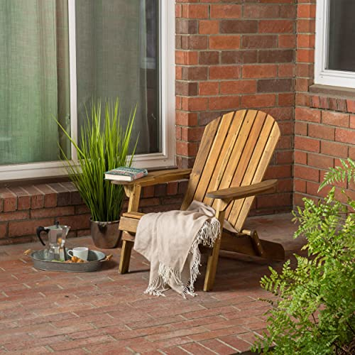 Christopher Knight Home Hanlee Folding Wood Adirondack Chair, Natural Stained