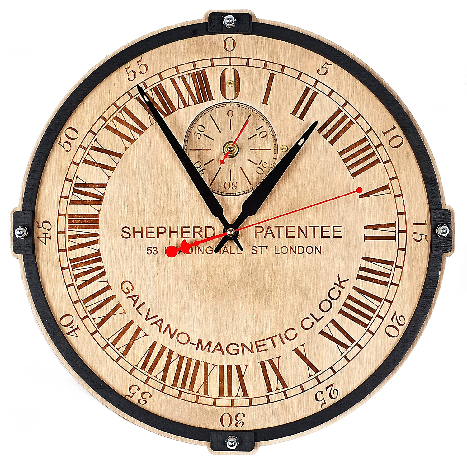 Greenwich Mean Time (GMT) Shepherd Gate unique large 24-hour analogue dial wooden wall clock (personalized gift)