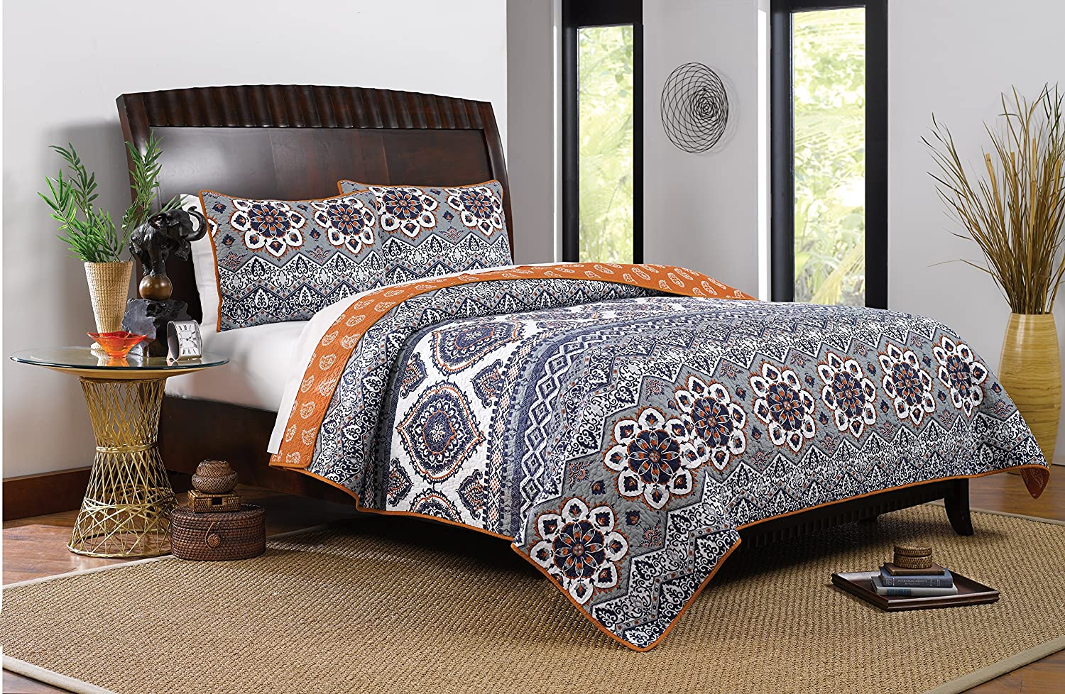 Greenland Home 2 Piece Medina Quilt Set, Twin, Saffron