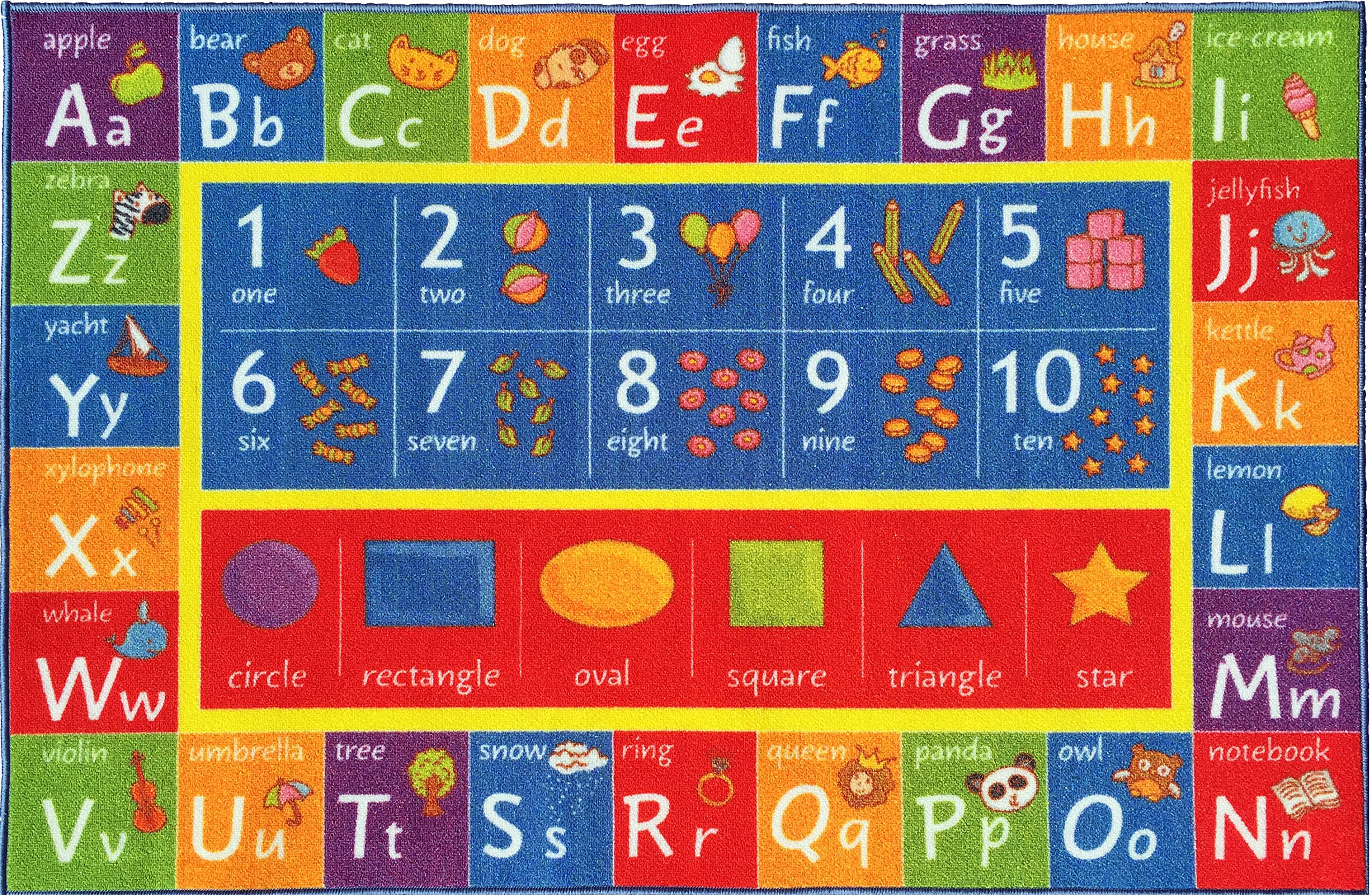 KC CUBS Kev & Cooper Playtime Collection ABC, Numbers and Shapes Educational Area Rug - 5'0'' x 6'6'' by KC CUBS