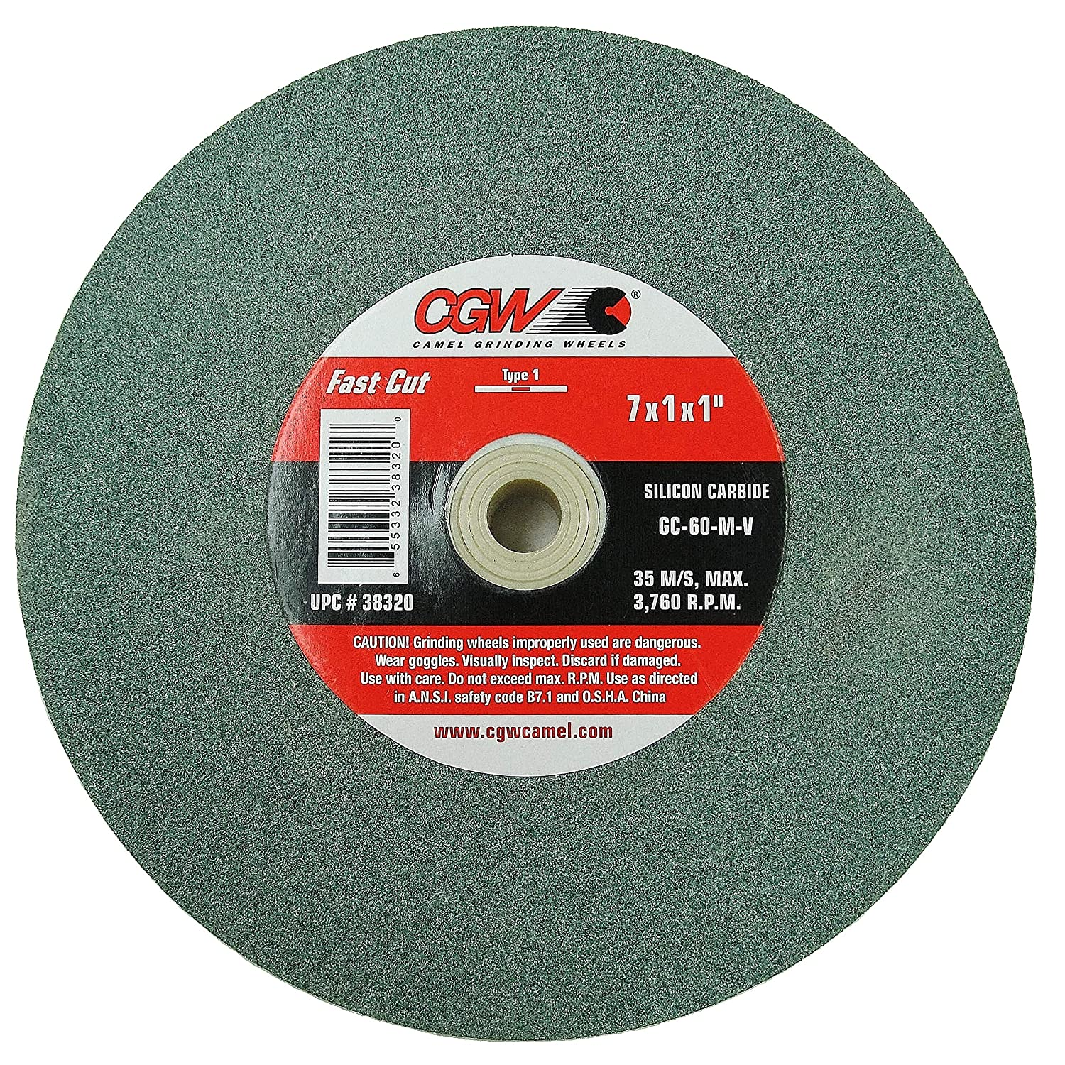 CGW 7 X 1 X 1 Bench Grinder Green Silicon Carbide Grinding Wheel Grit-60 Single Pack Part #38320