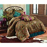 HiEnd Accents San Angelo Western Comforter Set with Teal Bedskirt, King