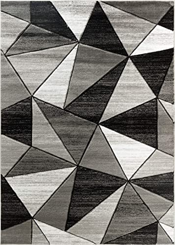 Glory Rugs Area Rug 8×10 Grey Black Modern Triangle Geometry Soft Hand Carved Contemporary Floor Carpet Fluffy Texture