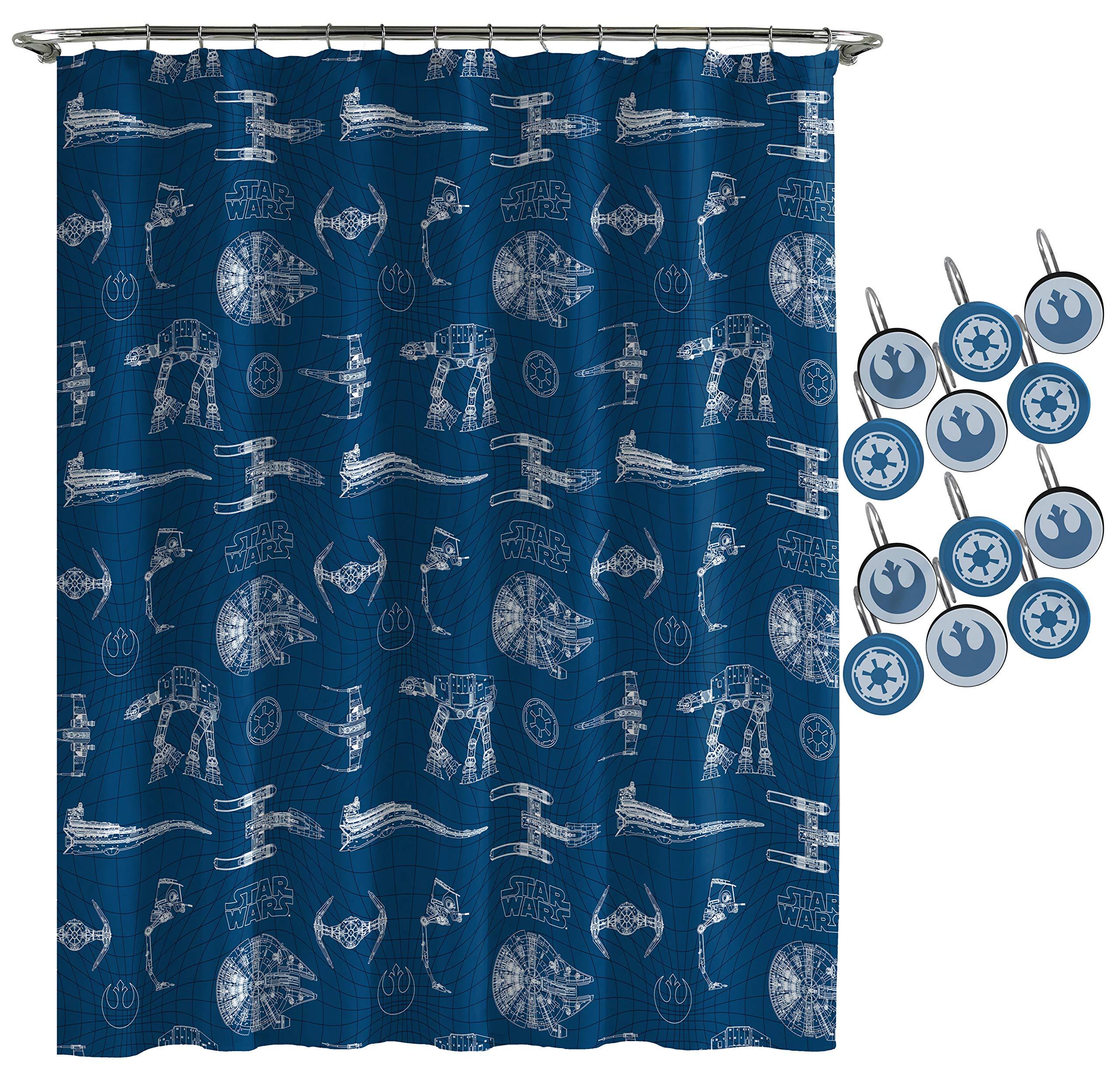 Jay Franco Star Wars Vehicle Schematics Spaceship 12 Piece Shower Curtain & Hook Set, Blue