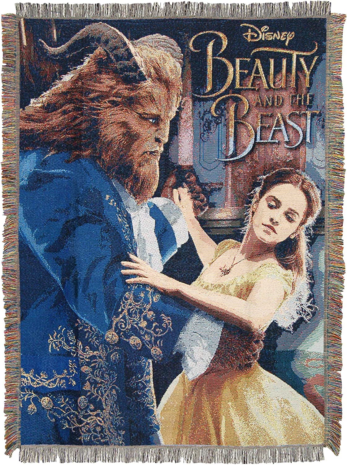 Multi Color 48 x 60 Disneys Beauty and The Beast Ballroom Waltz Woven Tapestry Throw Blanket