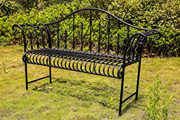 WestWood 2/3 Seater Garden Bench Metal Steel Ornate Antique Rustic Vintage  Style Park Patio