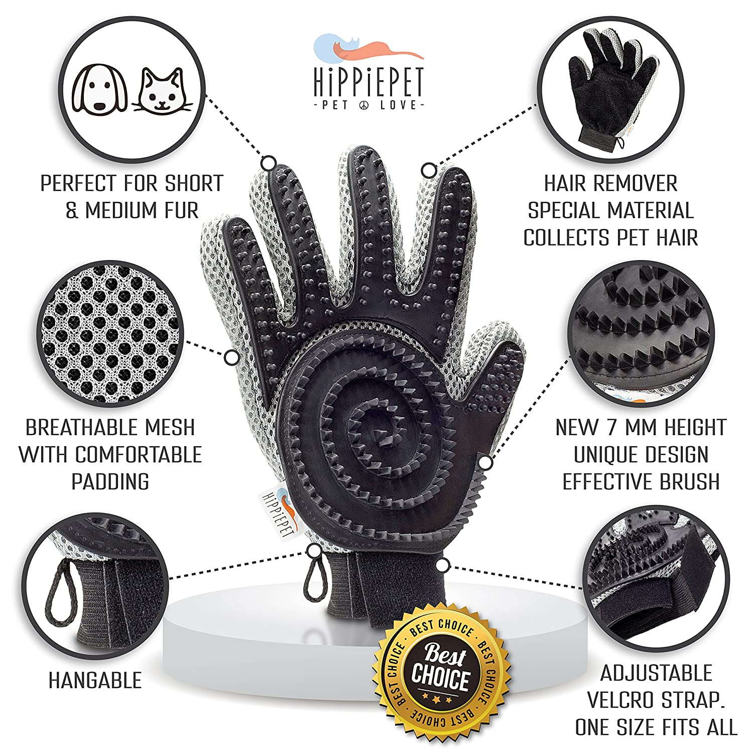 The Combi Glove – Pet Grooming Glove Brush with Dog and Cat Hair Remover from Furniture Carpets Clothes De Shedding Silicone Massage Mitt by Hippiepet RONNE BRANDS and More for Easy Clean-Up – Double-Sided