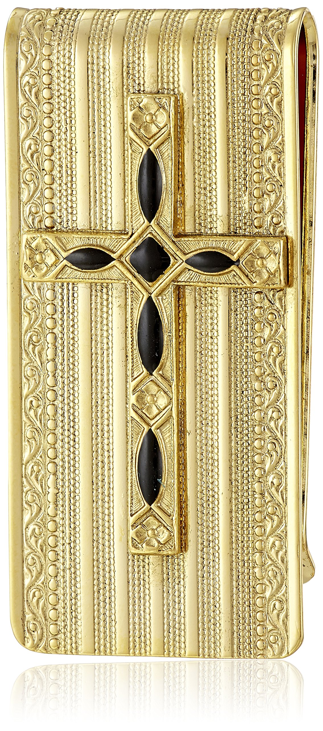Symbols of Faith Inspirations 14k Gold-Dipped Black Cross Money Clip