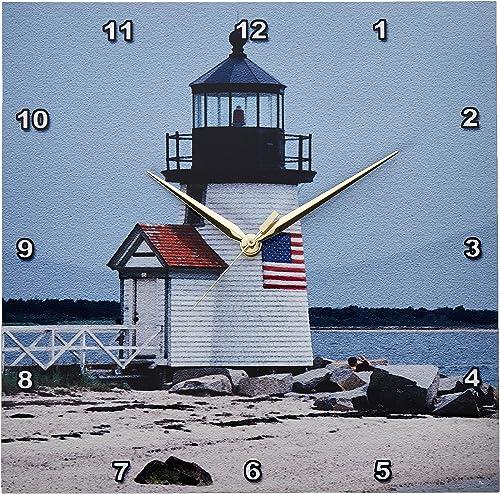 3dRose DPP_206378_2 Massachusetts, Nantucket. Brant Point Lighthouse. Wall Clock, 13 by 13