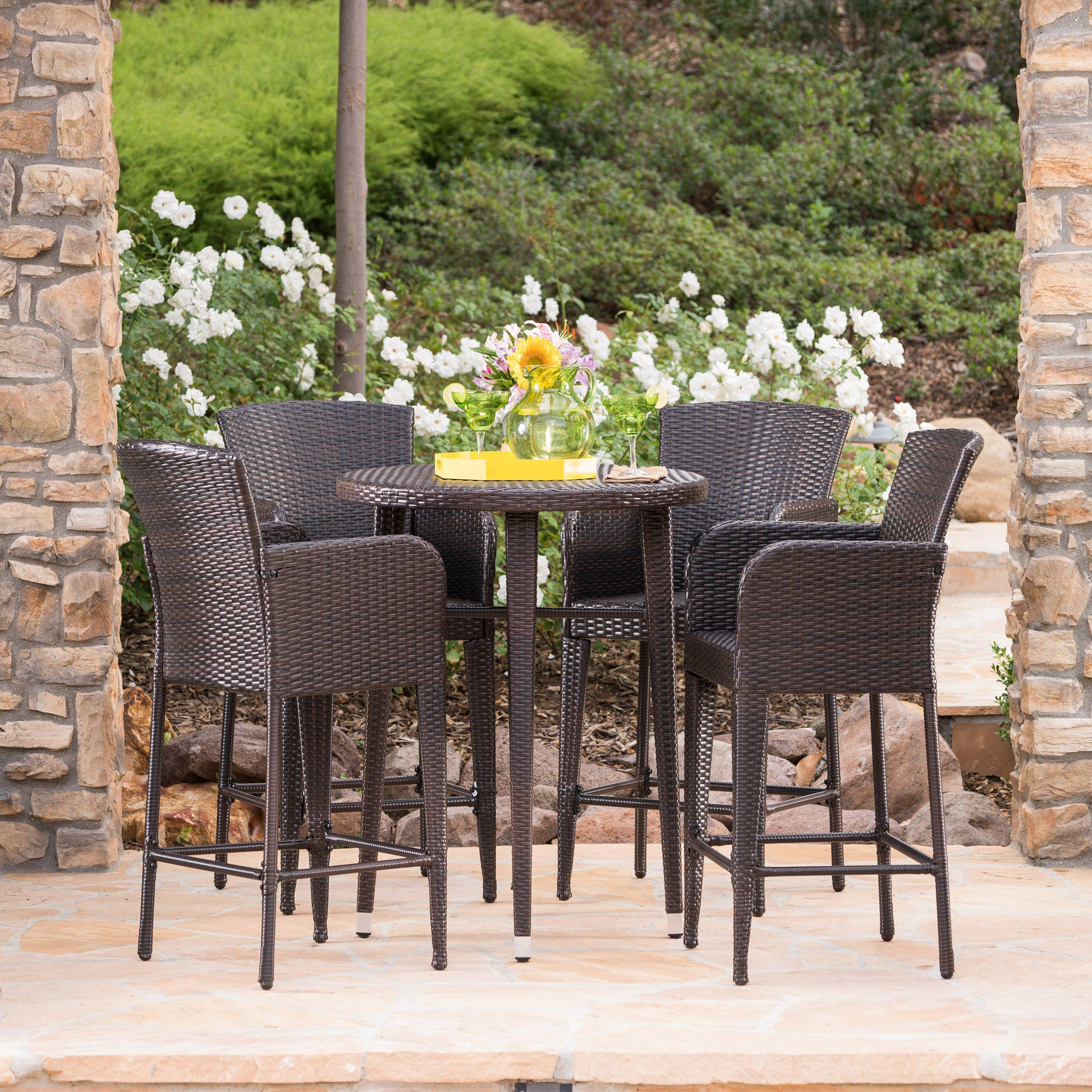 Cassum Outdoor 5 Piece Multibrown Wicker 32.5 Inch Round Bar Table Set