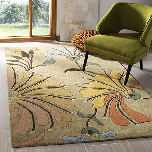 Safavieh Soho Collection SOH826A Handmade Golden Olive Premium Wool Area Rug 2 x 3