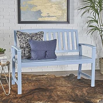 Strange Christopher Knight Home 302546 Lacelle Farmhouse Cottage Light Blue Finished Acacia Wood Bench Ibusinesslaw Wood Chair Design Ideas Ibusinesslaworg