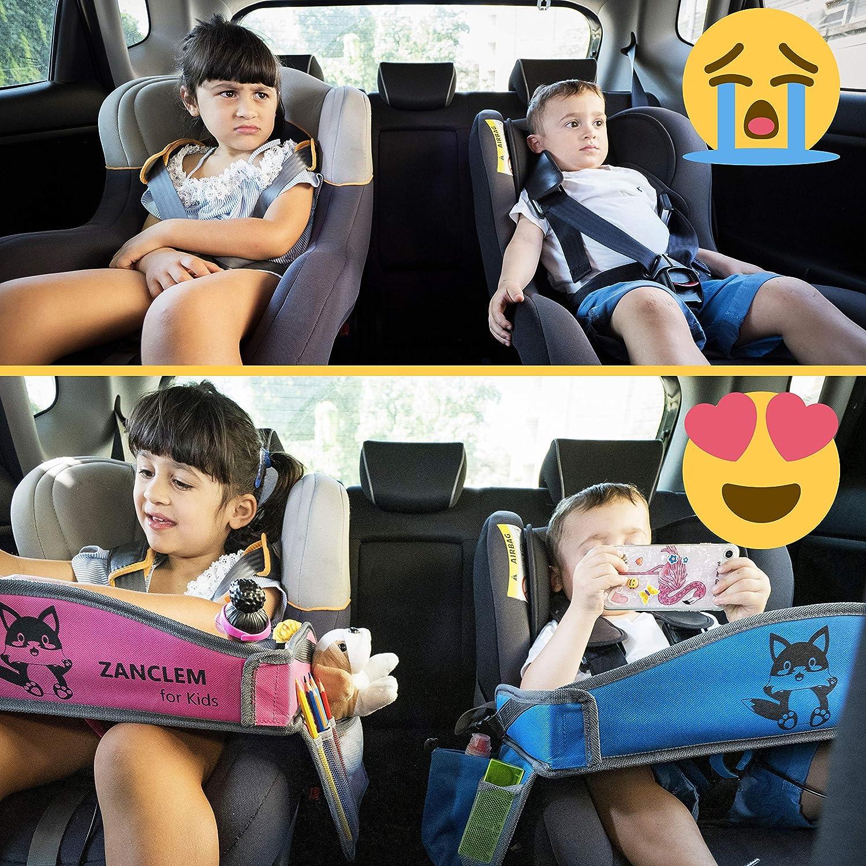MesitaDeJuego1+ Mesa de juego de viaje en coche para ni/ños con puerta USB 2.0 para Tablet Silla de coche Cochecito Tren Bandeja para Dibujar Entretener a los ni/ños en Avi/ón Smartphone Parque