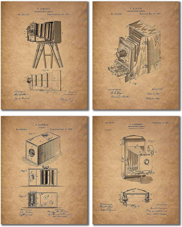 Camera Patent Prints - Set of 4 Vintage Wall Art Decor Photos - Eastman Kodak Brownell