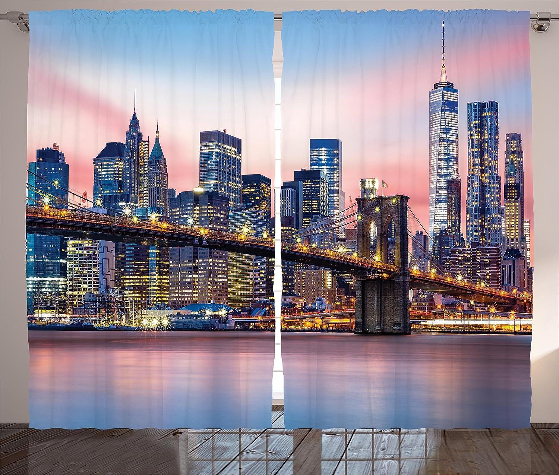 Ambesonne New York Curtains, Brooklyn Bridge and Lower Manhattan Skyline Under Pink Sunrise Long Exposure Art Image, Living Room Bedroom Window Drapes 2 Panel Set, 108