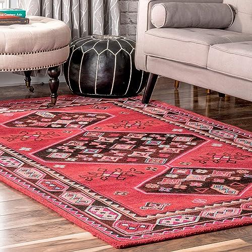 nuLOOM Tammy Tribal Wool Rug, 7 6 x 9 6 , Red