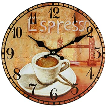 Reloj de pared, de cocina, diseño retro, diámetro aprox. 28 cm, de Perla PD Design: Amazon.es: Hogar