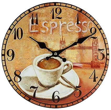 Reloj de pared, de cocina, diseño retro, diámetro aprox. 28 cm, de Perla PD  Design