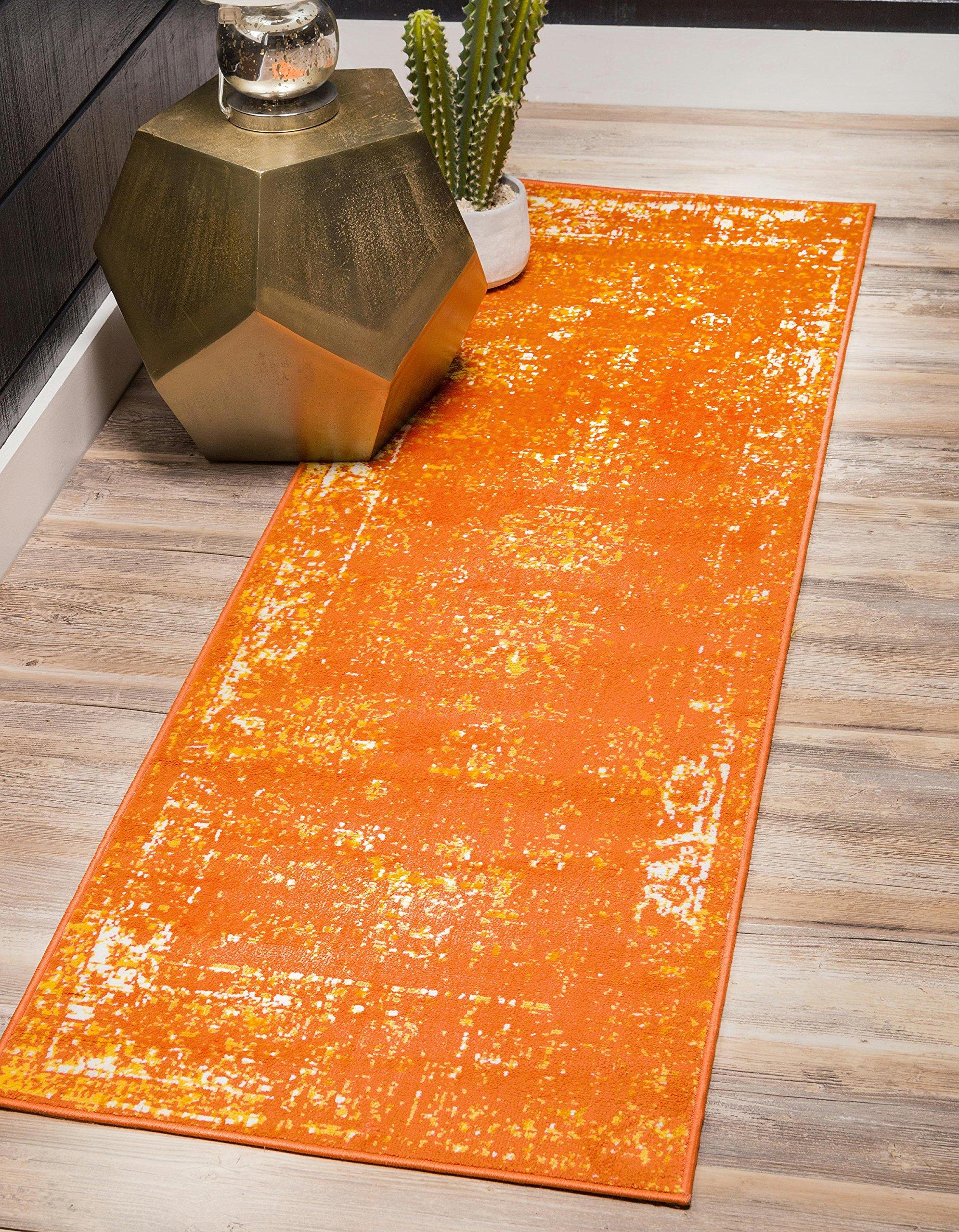 Unique Loom Sofia Collection Traditional Vintage Orange Runner Rug (2' x 13')