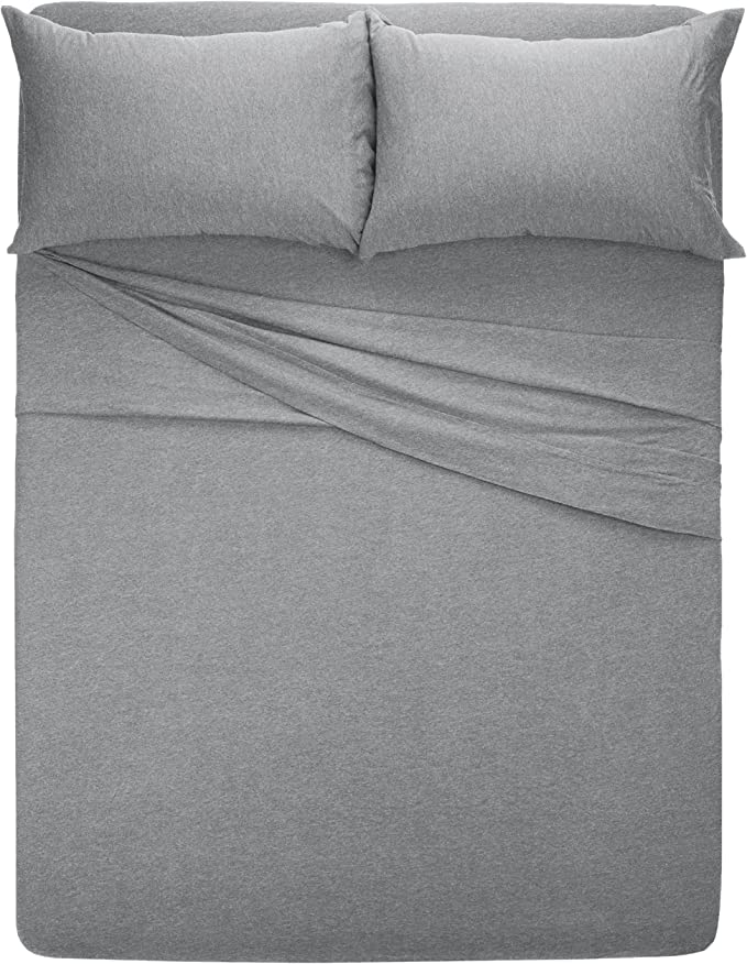 TOP RATED AMAZONBASICS COTTON JERSEY KING SIZE BED SHEET SET! (MORE COLORS)