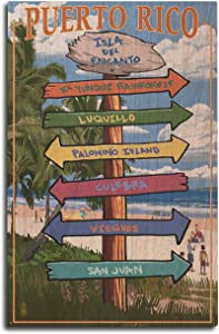 Lantern Press Isla del Encanto, Puerto Rico - Destinations Sign (10x15 Wood Wall Sign, Wall Decor Ready to Hang)